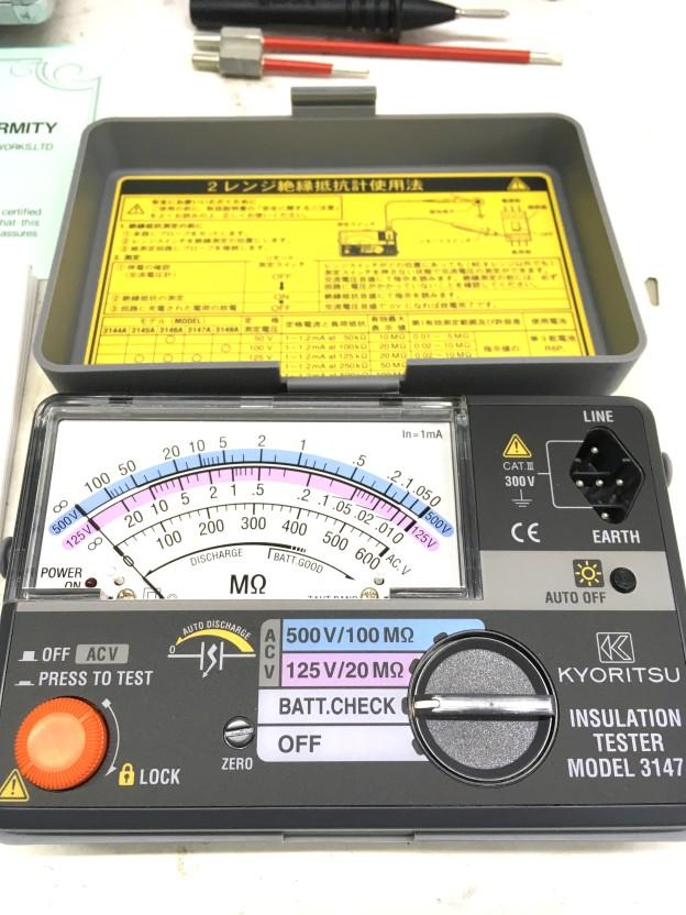 工具電機測定器共立絶縁抵抗計3147A松阪伊勢津買取